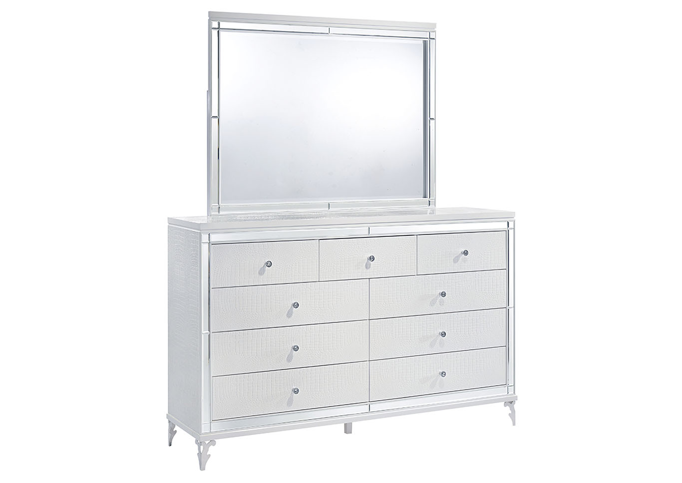 Catalina Metallic White Dresser and Mirror,Global Furniture USA