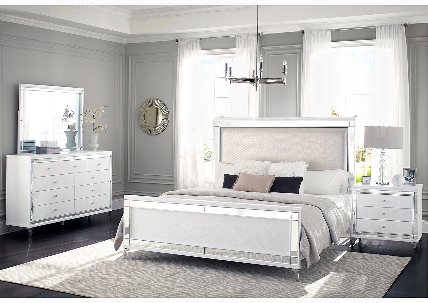 Catalina Metallic White Upholstered Queen Panel Bed w/Dresser & Mirror,Global Furniture USA