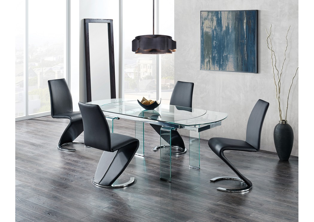 Glass-Top Extendable Dining Table w/4 Black Dining Chair,Global Furniture USA