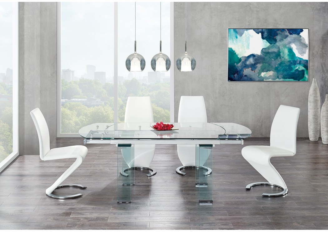 Glass-Top Extendable Dining Table w/4 White Dining Chair,Global Furniture USA