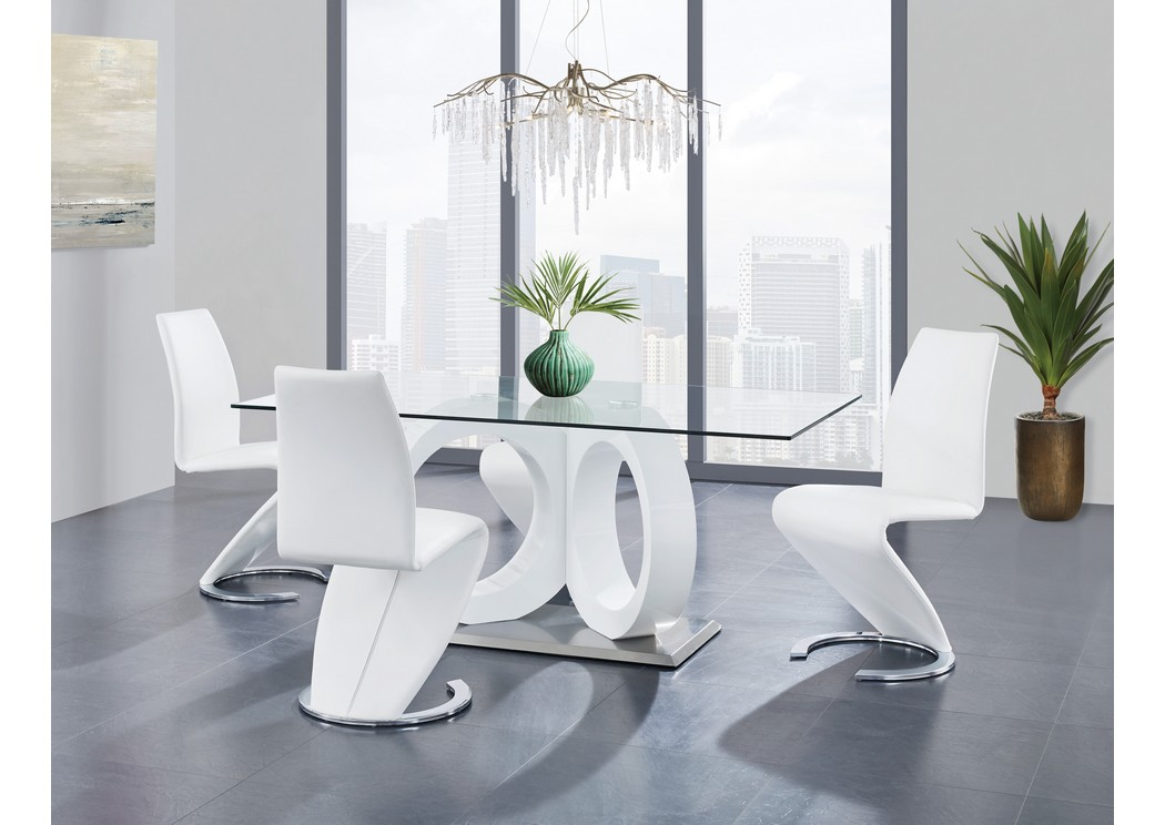 White Dining Table w/4 Dining Chair,Global Furniture USA