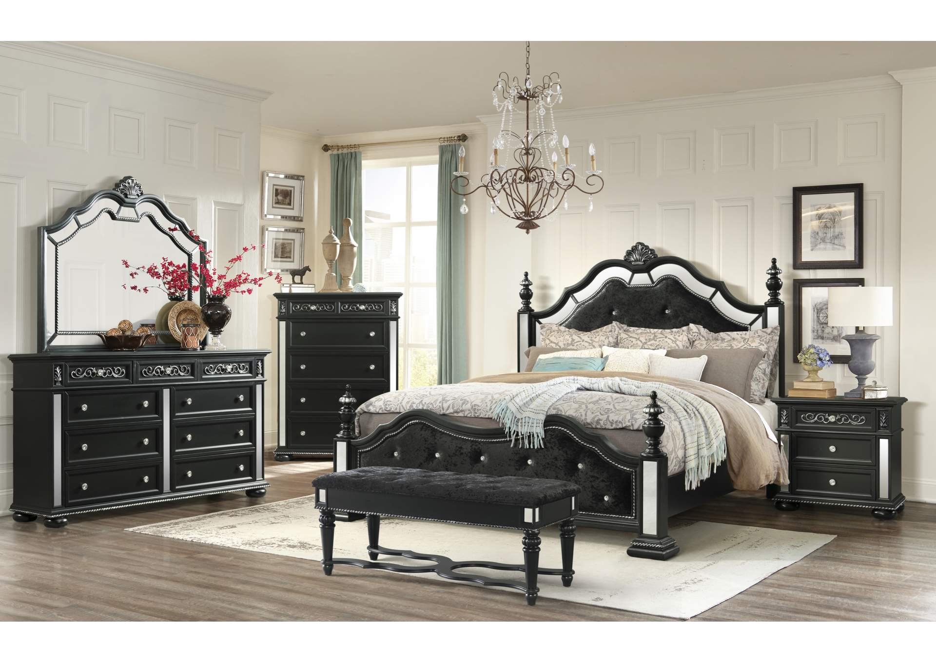 Diana Black Queen Poster Bed w/Dresser and Mirror,Global Furniture USA