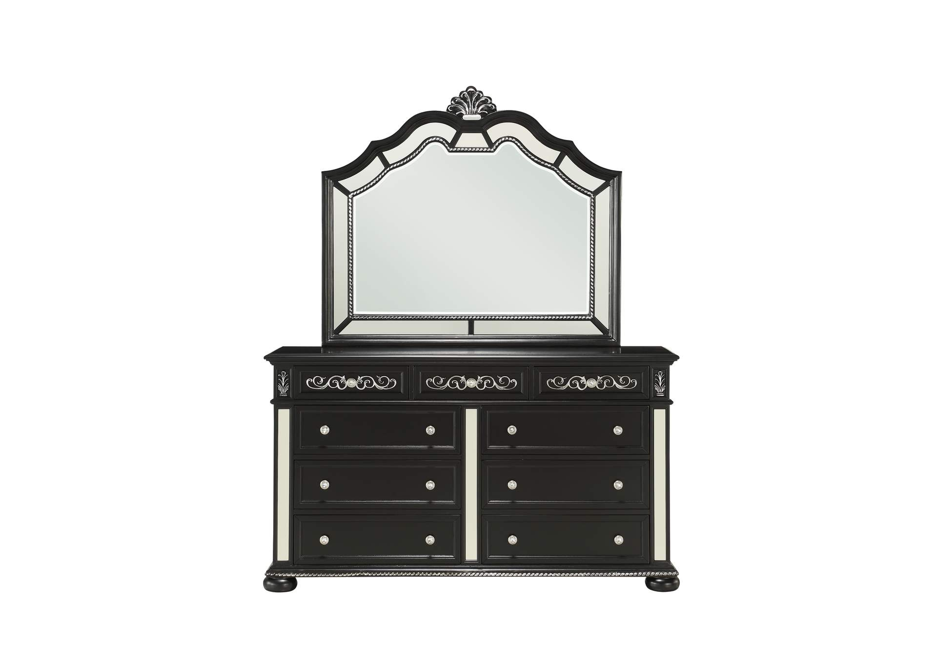 Diana Black Dresser and Mirror,Global Furniture USA