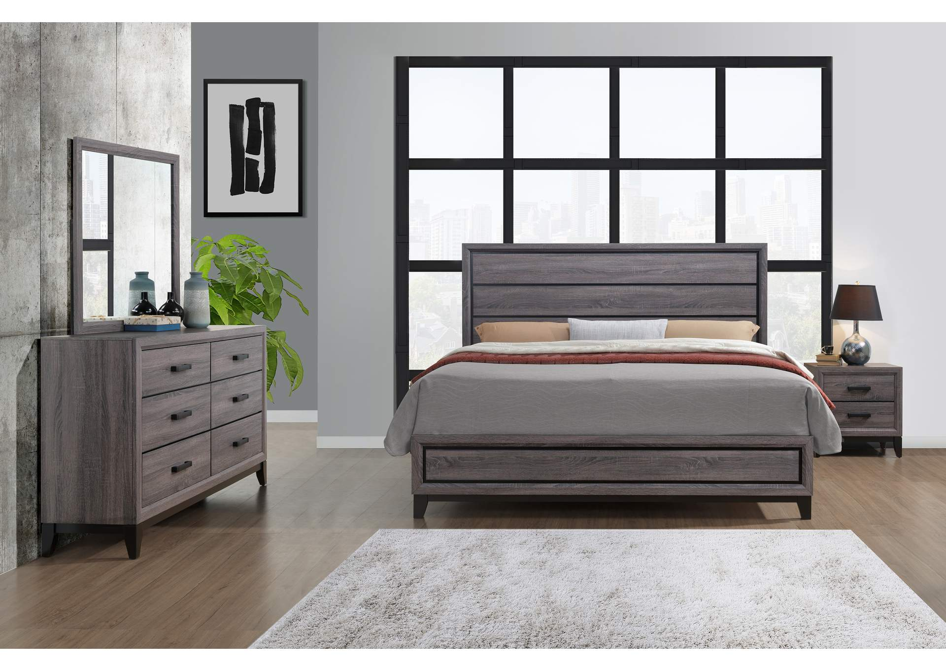 Kate Foil Grey Queen Panel Bed w/Dresser and Mirror,Global Furniture USA