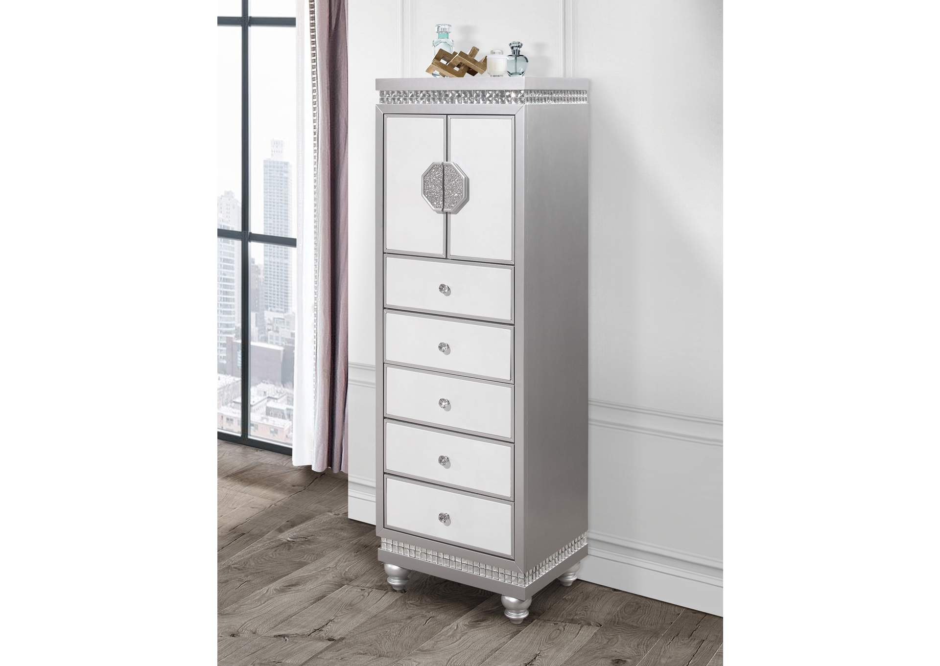 Kylie White Lingerie Chest,Global Furniture USA