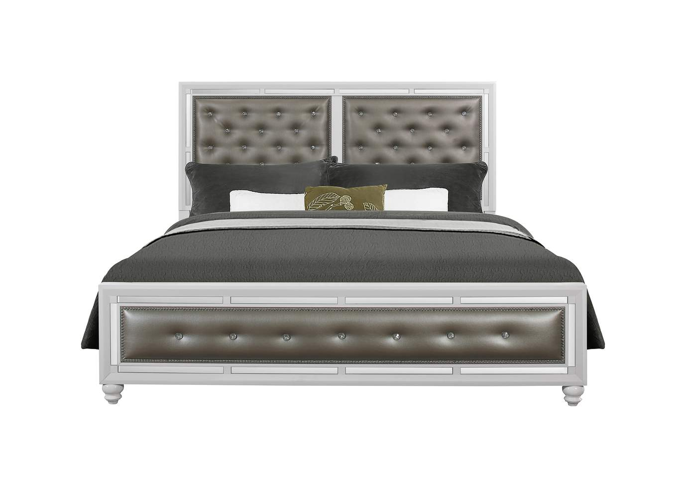 Mackenzie Silver White King Bed,Global Furniture USA
