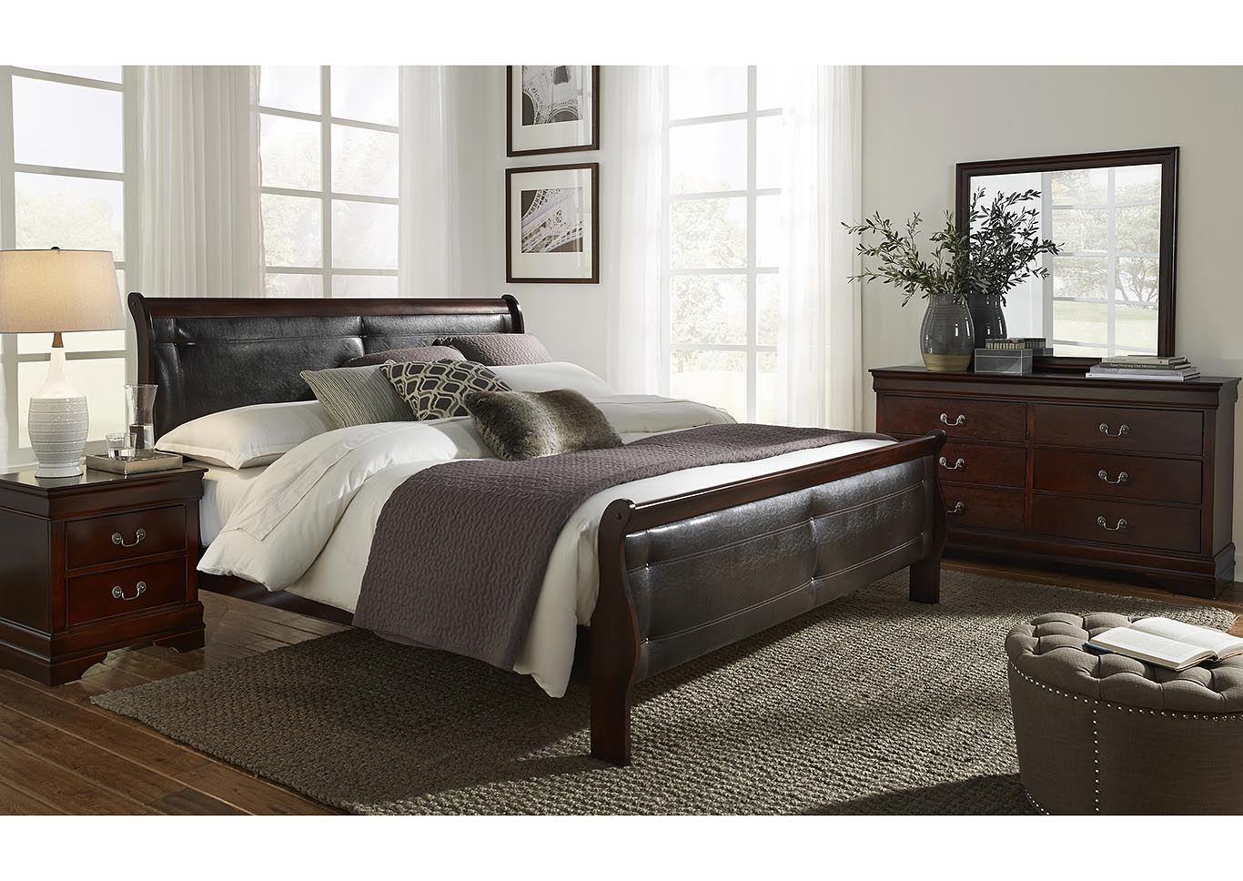 Marley Merlot Queen Upholstery Panel Bed w/Dresser and Mirror,Global Furniture USA