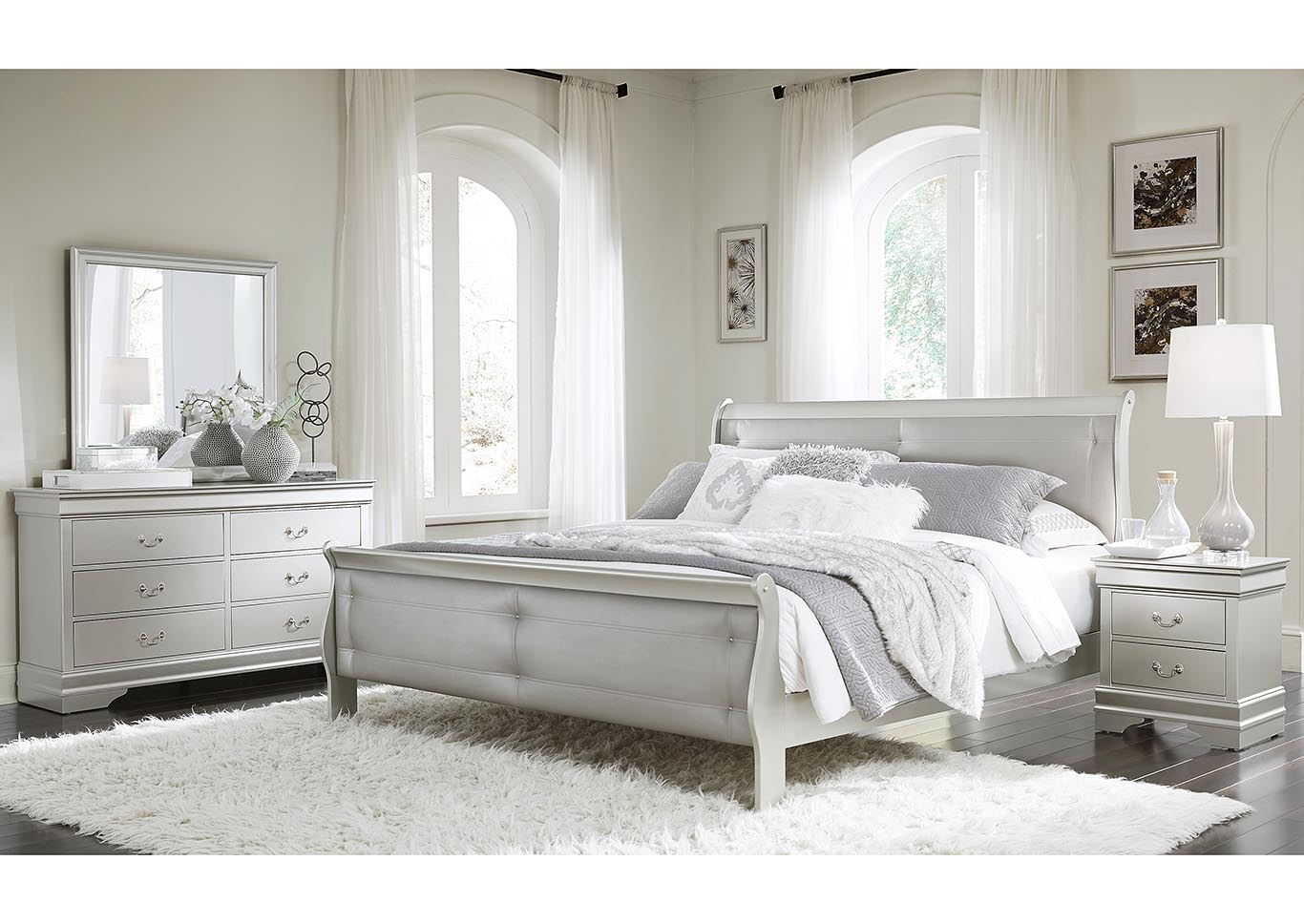Marley Silver King Upholstery Panel Bed w/Dresser and Mirror,Global Furniture USA