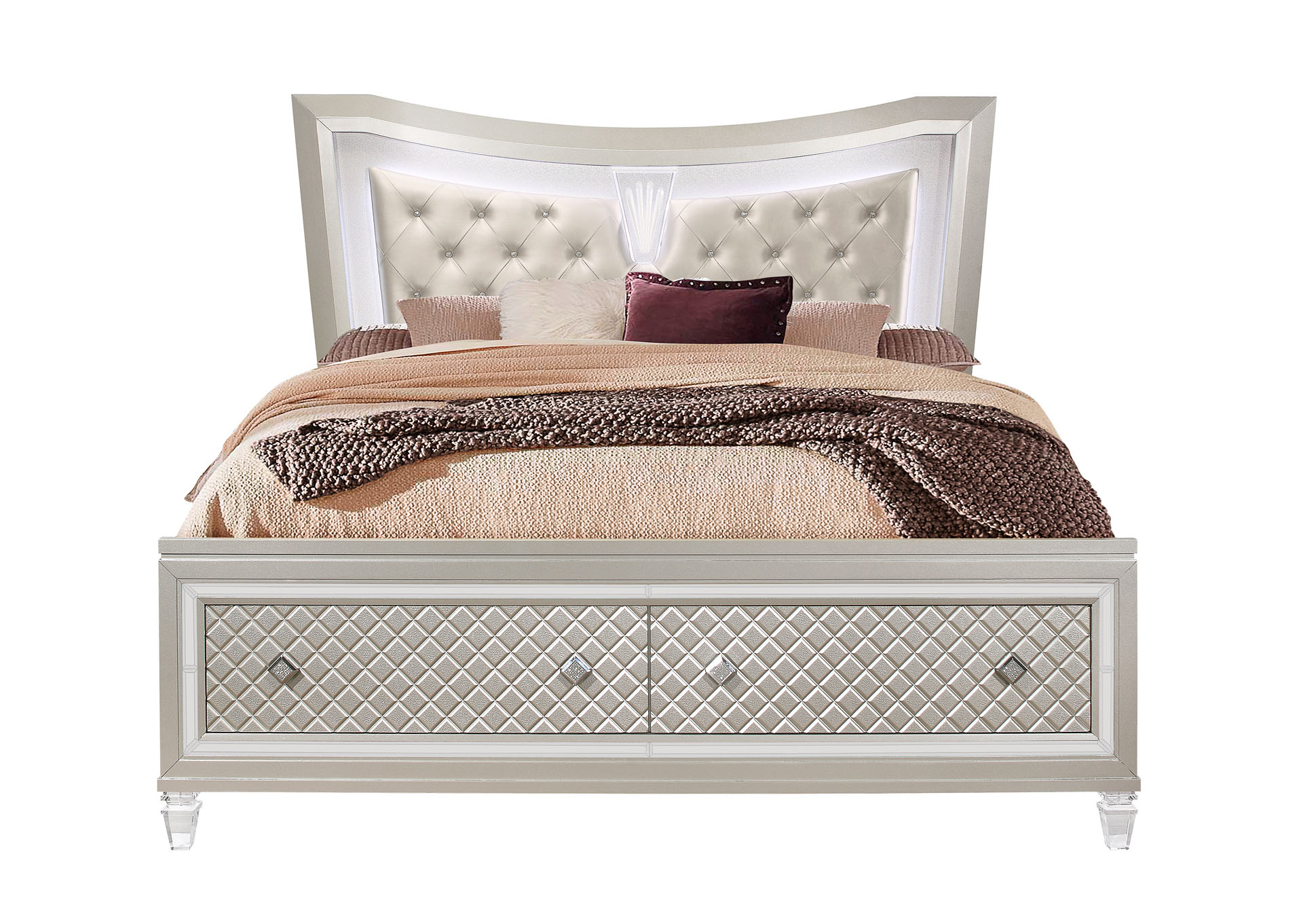 Paris Champagne Queen Bed,Global Furniture USA