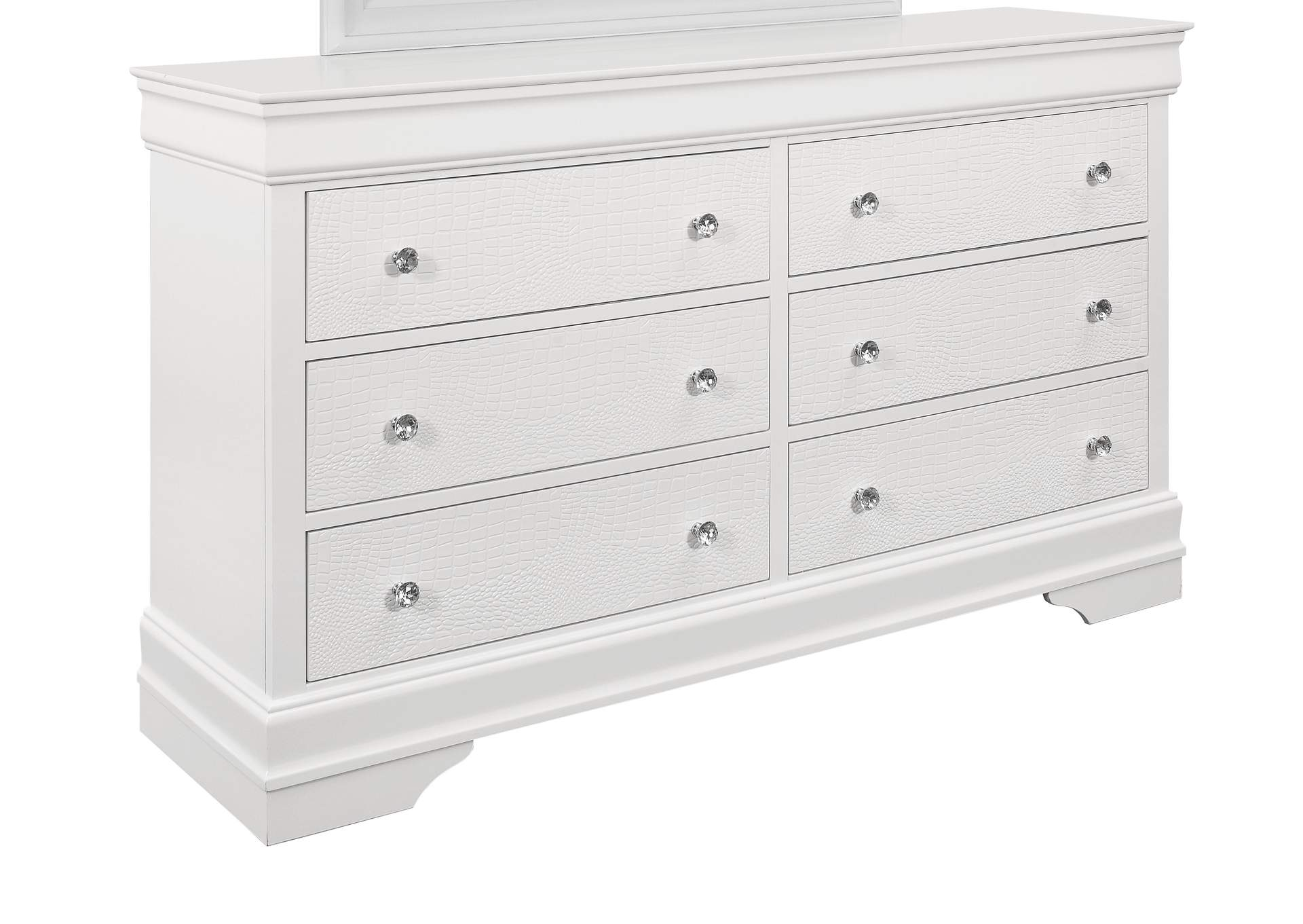 Pompei Metallic White Dresser,Global Furniture USA