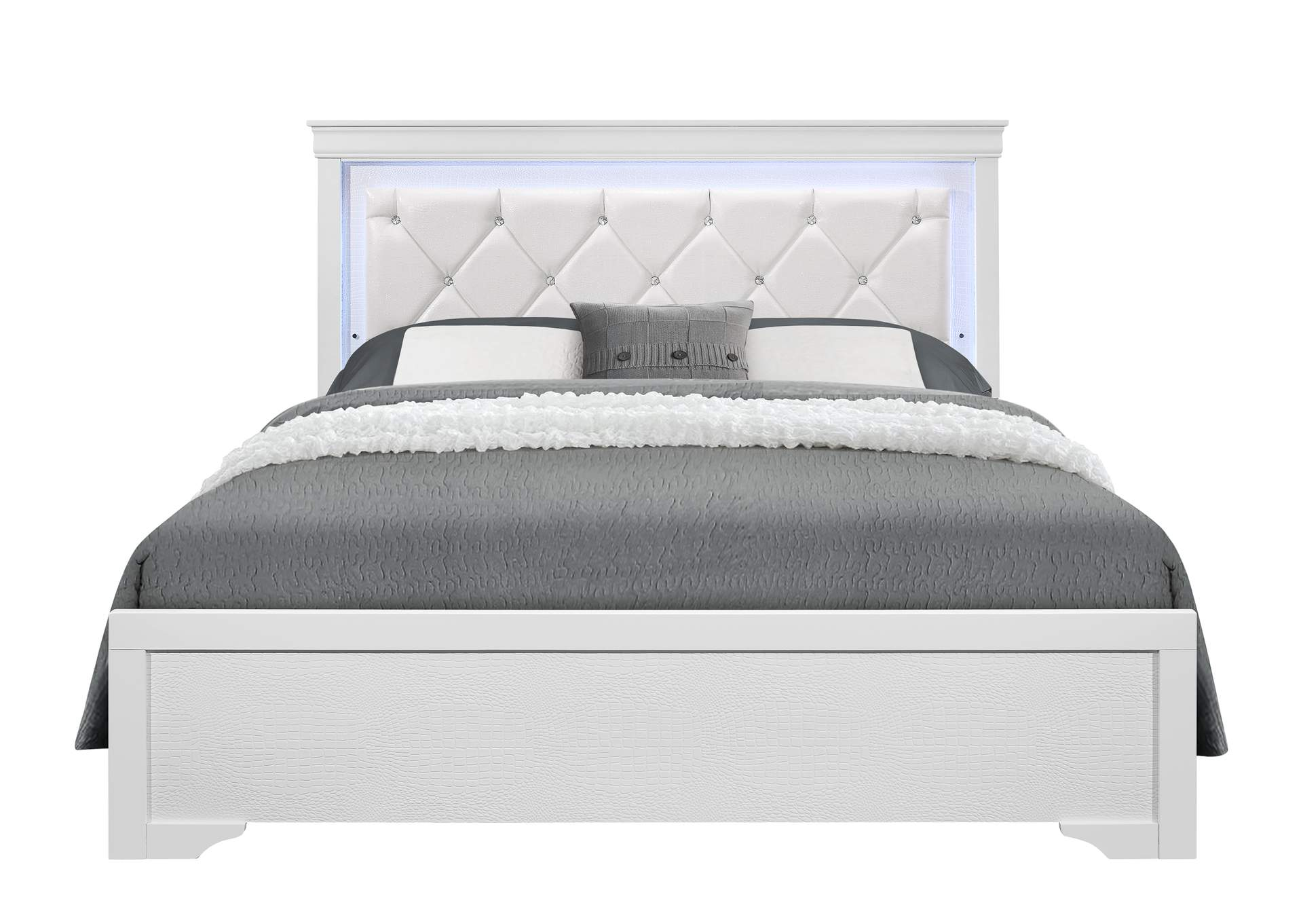 Pompei Metallic White Queen Bed,Global Furniture USA