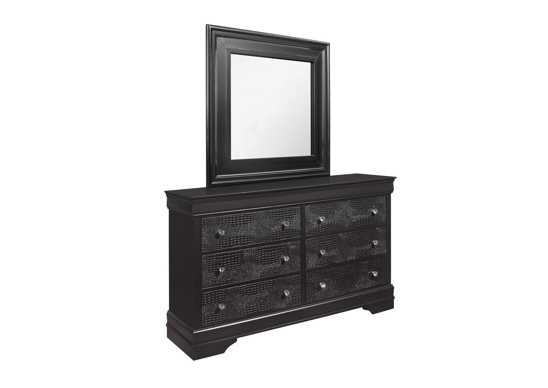 Pompei Metallic Grey Dresser and Mirror,Global Furniture USA
