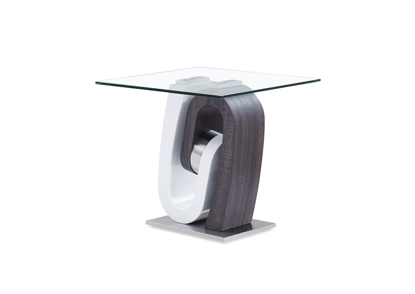 White & Dark Grey End Table,Global Furniture USA