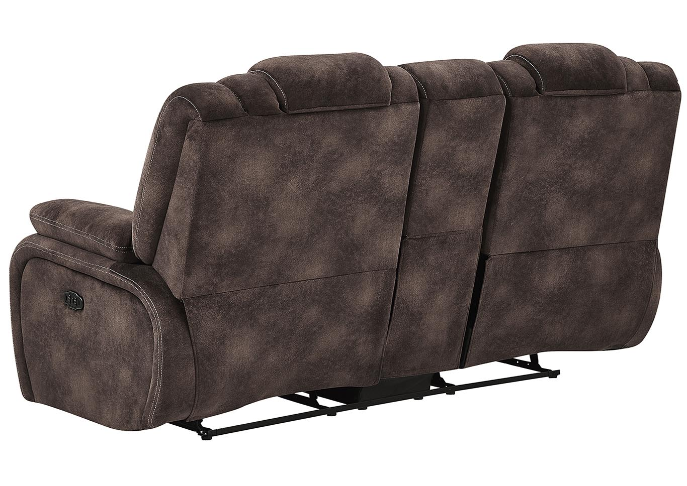 Night Range Chocolate Power Reclining Loveseat w/Drop-Down Table, Headrest & USB,Global Furniture USA