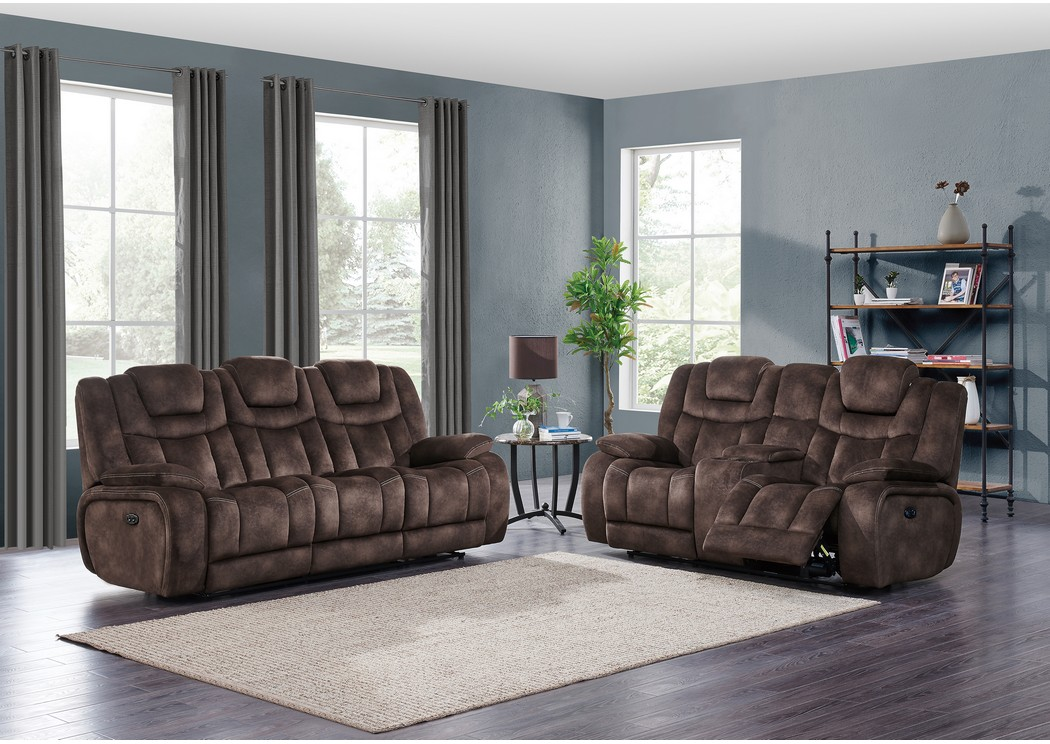 Night Range Chocolate Power Reclining Sofa & Loveseat w/Drop-Down Table, Headrest & USB,Global Furniture USA