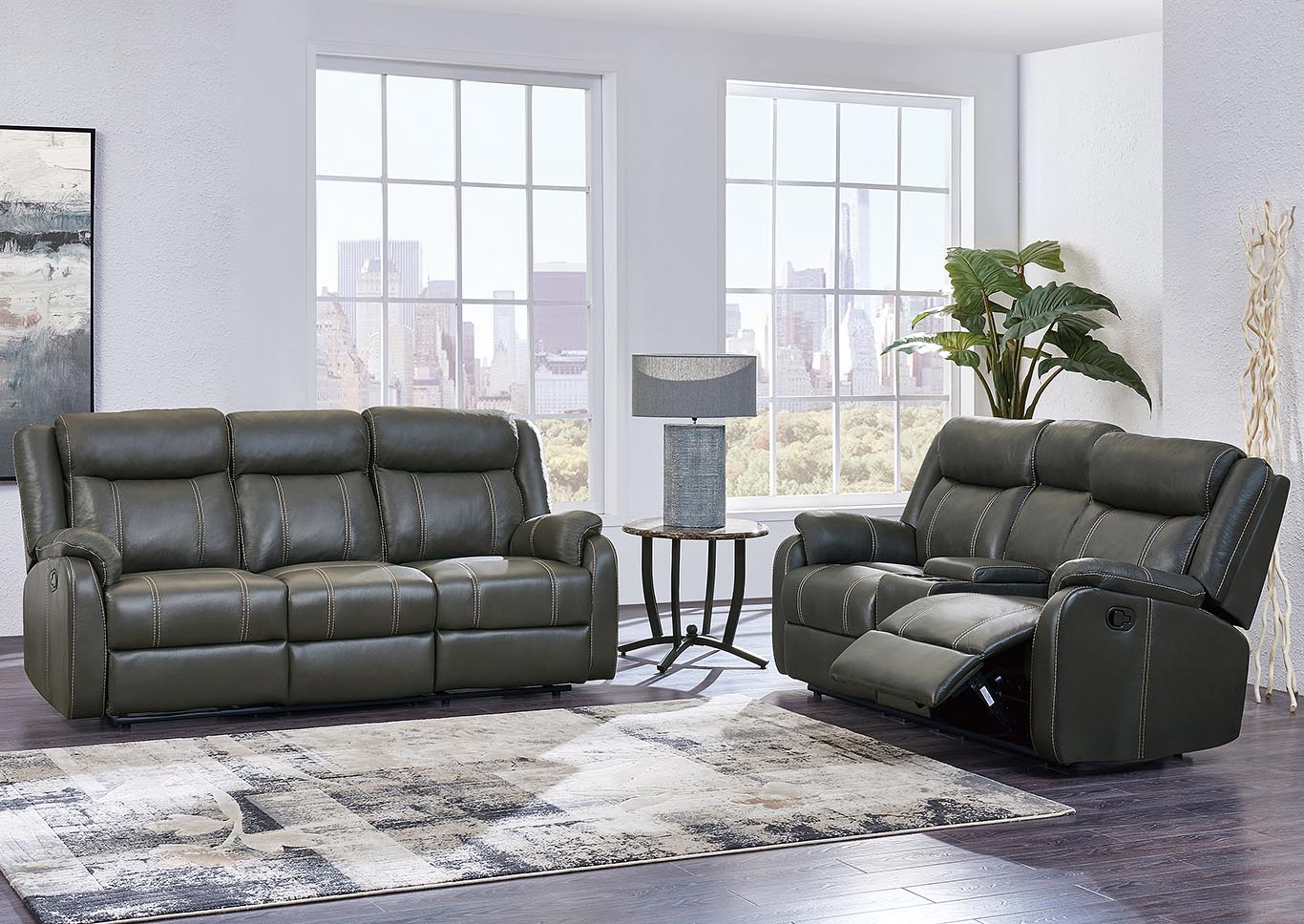 Gin Rummy Charcoal Reclining Sofa & Loveseat w/Console, Drop-Down Table & Drawer,Global Furniture USA