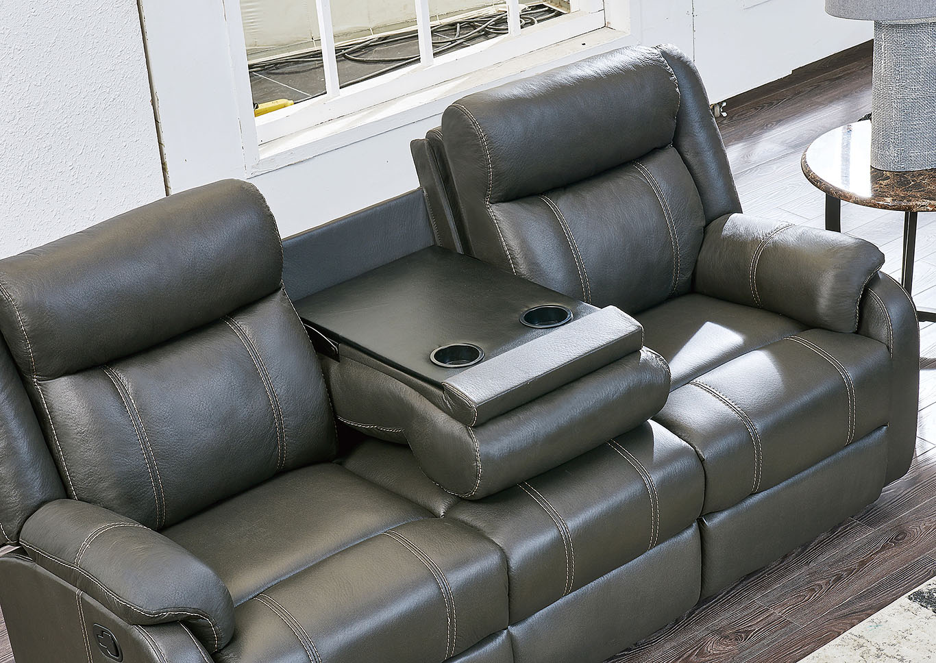 Gin Rummy Charcoal Reclining Sofa w/Drop-Down Table,Global Furniture USA