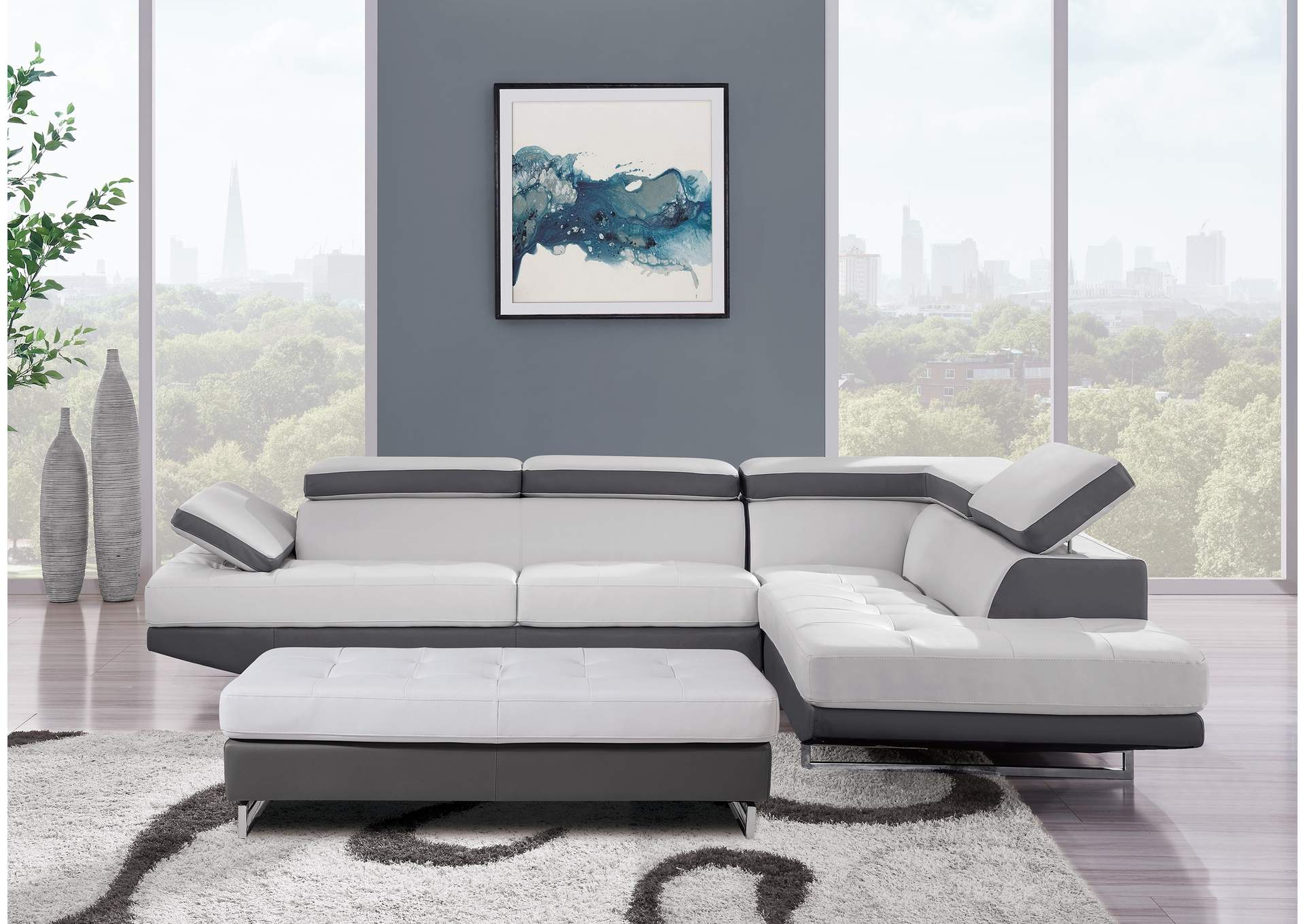 Light & Dark Grey Sectional,Global Furniture USA