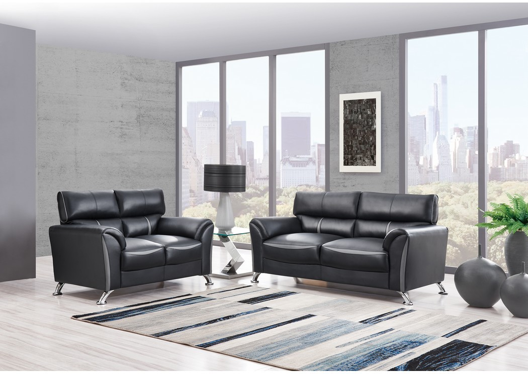 Black/Dark Grey Sofa & Loveseat,Global Furniture USA