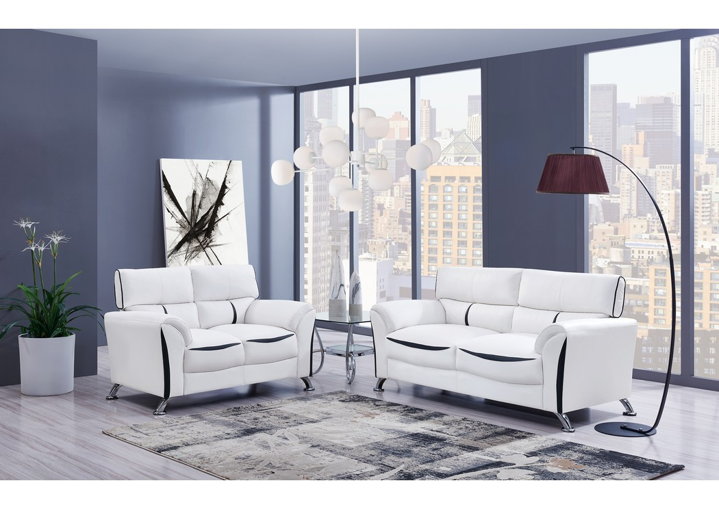 White/Black Sofa & Loveseat,Global Furniture USA