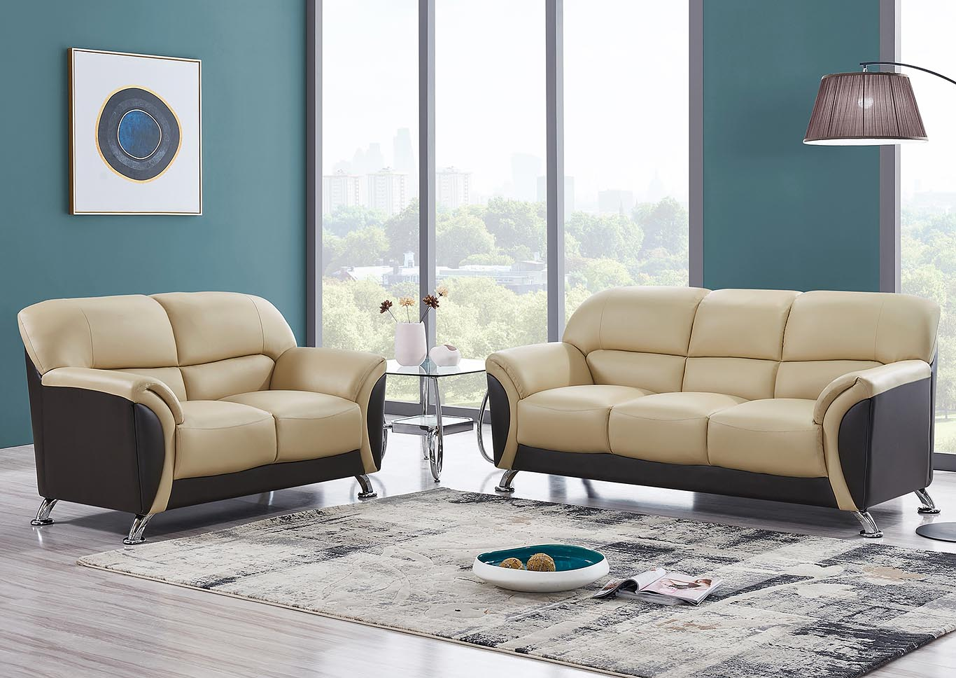 Cappuccino & Chocolate Sofa & Loveseat,Global Furniture USA