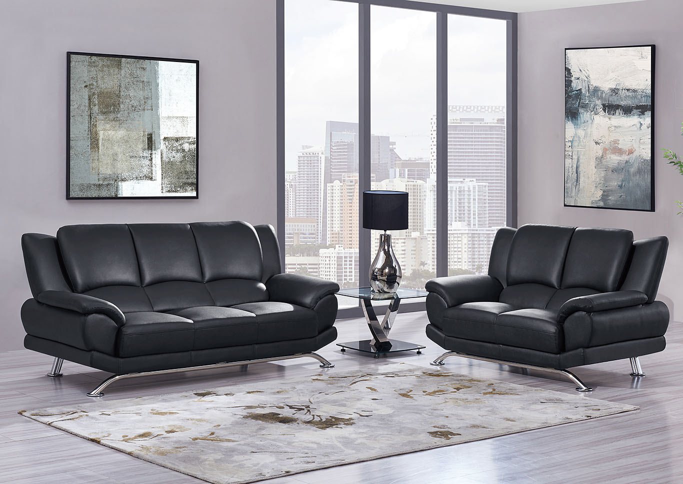 Black Sofa & Loveseat w/Chrome Legs,Global Furniture USA