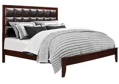 Carolina Cherry/Brown Upholstered Platform King Bed