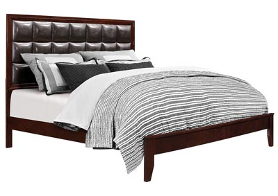 Carolina Cherry/Brown Upholstered Platform Queen Bed