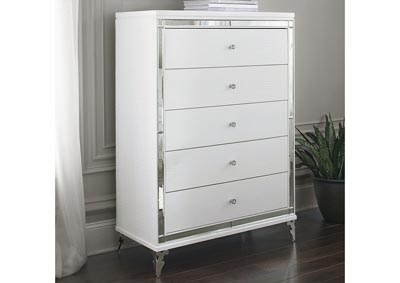 Catalina Metallic White Chest,Global Furniture USA
