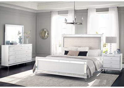 Catalina Metallic White Upholstered Queen Panel Bed,Global Furniture USA