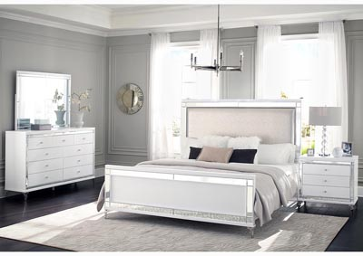 Catalina Metallic White Upholstered Queen Panel Bed w/Dresser & Mirror