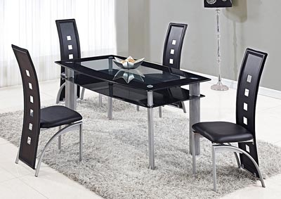 Image for Black/Silver Dining Table w/4 Chair