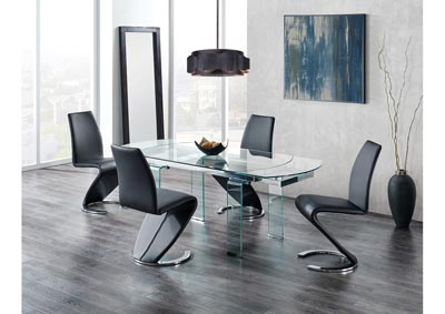 Glass-Top Extendable Dining Table w/4 Black Dining Chair