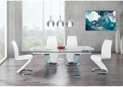Glass-Top Extendable Dining Table w/4 White Dining Chair