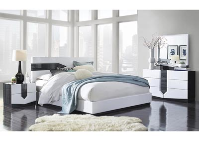 Hudson Grey/White King Platform Bed w/Dresser and Mirror
