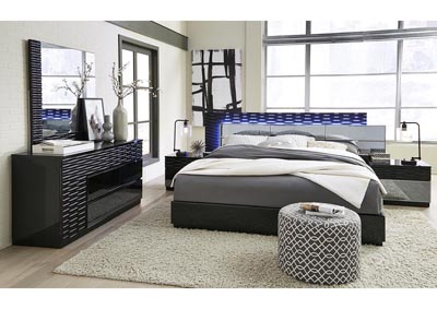 Image for Manhattan Black Queen Platform Bed w/Dresser and Mirror