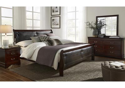 Marley Merlot King Upholstery Panel Bed w/Dresser and Mirror