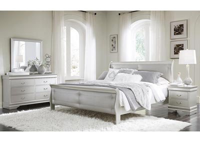 Marley Silver Full Upholstery Panel Bed w/Dresser and Mirror
