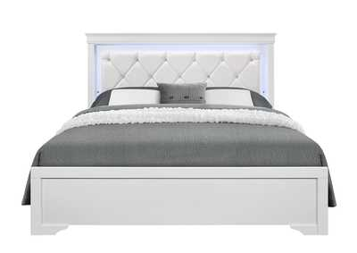 Pompei Metallic White King Bed
