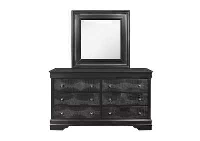Pompei Metallic Grey Dresser and Mirror