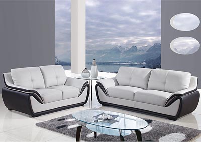 Natalie Light Grey/Black Sofa & Loveseat