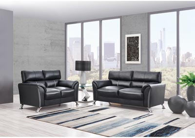 Black/Dark Grey Sofa & Loveseat