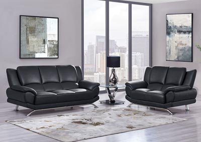 Black Sofa & Loveseat w/Chrome Legs