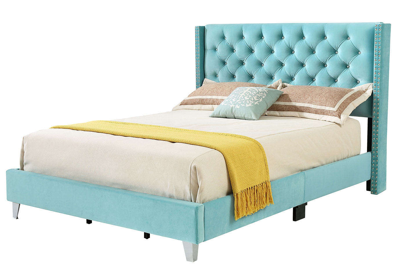 Ocean Blue Velvet Full Upholstered Bed,Glory Furniture