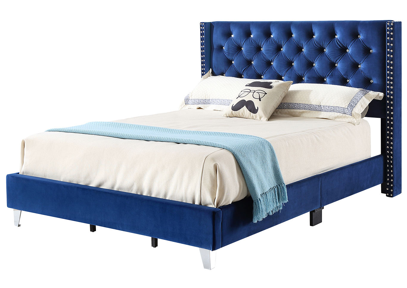 Navy Velvet Full Upholstered Bed,Glory Furniture