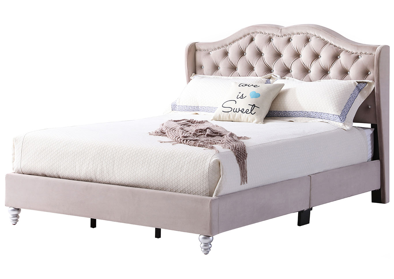Beige Micro Suede Upholstered Full Bed,Glory Furniture
