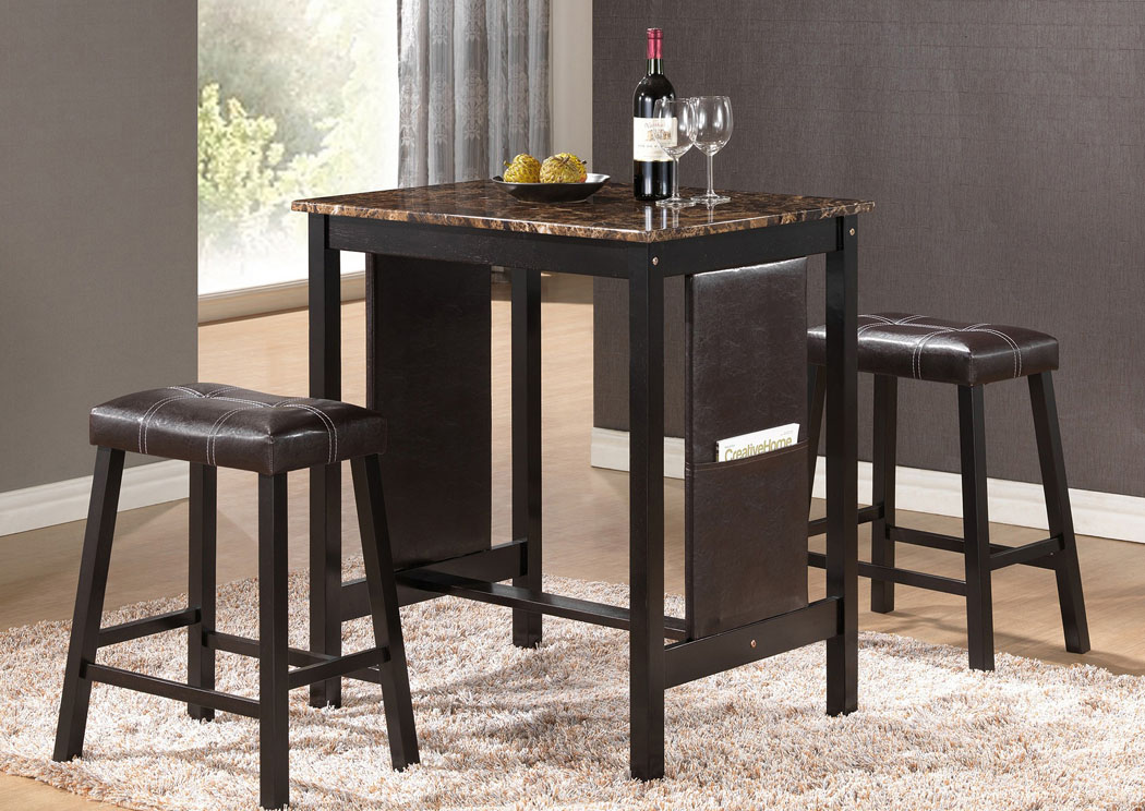 Brown Table And 2 Stools,Glory Furniture
