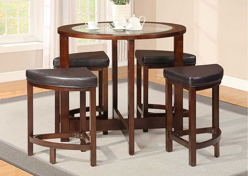 Cappuccino & Glass Table w/ 4 Stools,Glory Furniture