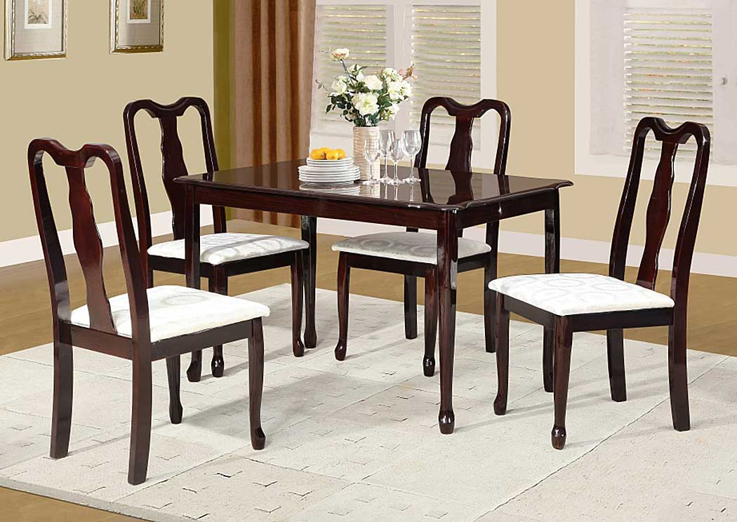 Cherry Table w/ 4 Chairs,Glory Furniture