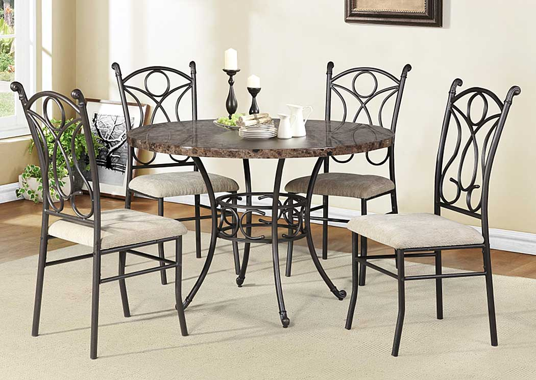 Faux Stone Table w/ 4 Chairs,Glory Furniture